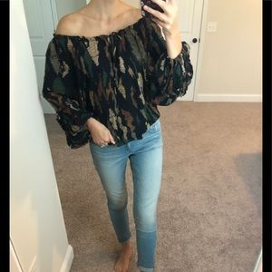 Parker Silk Fall Spotted Ruffle Sleeve Blouse